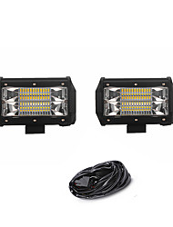 cheap -2PCS 72W 7200LM 6000K 3-Rows LED Work Light Cool White Flood Offroad Driving Light for Car/Boat/Headlight IP68 9-32V DC  3m 1-To-2 Wiring Harness Kit