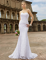 cheap -Mermaid / Trumpet Sweetheart Neckline Sweep / Brush Train Lace Strapless Country Plus Size Wedding Dresses with Appliques 2020