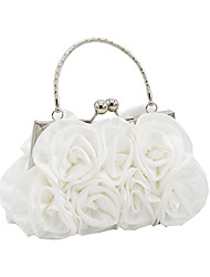 cheap -Women's Bags Satin Evening Bag Flower Wedding Bags Wedding Party Event / Party White Black Red Champagne