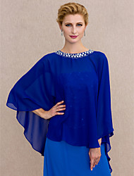 cheap -Capes Chiffon Wedding / Party / Evening Women's Wrap With Beading / Buttons
