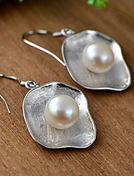 cheap -Women's Pearl Stud Earrings Drop Earrings Artisan Ladies Simple Style Fashion Elegant Hammered Pearl Sterling Silver Earrings Jewelry Silver For Daily Casual