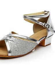 Недорогие -Жен. Обувь для латины Материал на заказ клиента На каблуках На низком каблуке Персонализируемая Танцевальная обувь Черный / Серебряный / В помещении