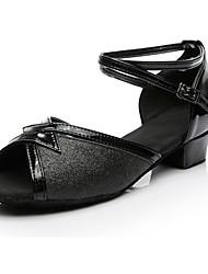 cheap -Women's Dance Shoes Paillette Latin Shoes Heel Low Heel Customizable Black / Practice