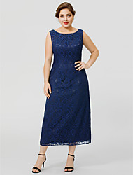 cheap -Sheath / Column Bateau Neck / Jewel Neck Tea Length Chiffon / All Over Lace Sleeveless Classic & Timeless / Elegant & Luxurious / Plus Size Mother of the Bride Dress with Lace Mother's Day 2020