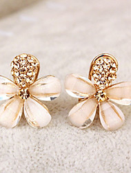 cheap -Women's Clip on Earring Flower Ladies Elegant Rhinestone Earrings Jewelry Gold For Party Daily