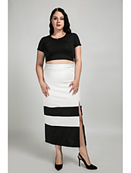 cheap -Women's Daily / Work Plus Size Cotton A Line Skirts - Color Block Patchwork White Black