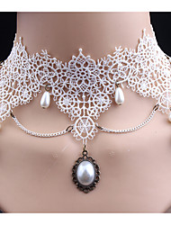 cheap -Women's Synthetic Diamond Choker Necklace Classic Cute Imitation Pearl Lace White Necklace Jewelry For Wedding Party