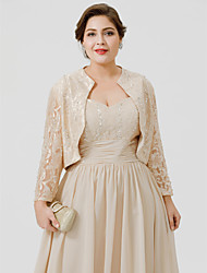 cheap -Long Sleeve Shrugs Lace Wedding / Party / Evening Women's Wrap With Beading