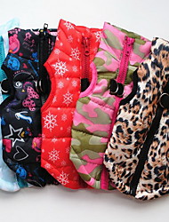 cheap -Dog Vest Coat Harness Puppy Clothes Snowflake Casual / Daily Outdoor Winter Dog Clothes Puppy Clothes Dog Outfits Leopard Black Red Costume Baby Small Dog for Girl and Boy Dog Cotton XS S M L