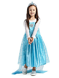 cheap -Princess Fairytale Cosplay Costume Movie Cosplay Blue Dress Christmas Halloween New Year Chiffon
