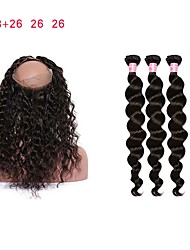 cheap -3 Bundles with Closure Malaysian Hair Curly Loose Wave Remy Human Hair Human Hair Weaves Human Hair Extensions