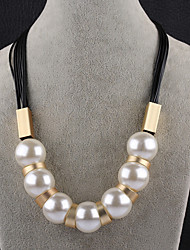 cheap -Women's Chain Necklace Balance Ladies Imitation Pearl Black Brown Necklace Jewelry For Party Stage