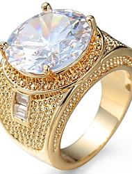 Недорогие -Универсальные Кольцо на кончик пальца Обручальное кольцо Цирконий Золотой Черный Циркон Медь Круглый Роскошь Классика Мода Свадьба Для вечеринок Бижутерия Пасьянс Овальный симулированный