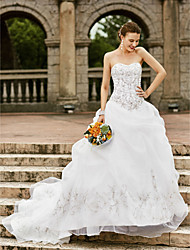 cheap -Ball Gown Wedding Dresses Strapless Court Train Organza Strapless Country Romantic Plus Size with Pick Up Skirt Embroidery 2021