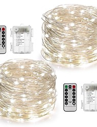 cheap -10m String Lights 100 LEDs Warm White / White / Multi Color Waterproof / Remote Control / RC / Dimmable Battery / IP65 / Color-Changing