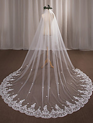 cheap -One-tier Wedding Veil Chapel Veils with Appliques Lace / Tulle / Angel cut / Waterfall