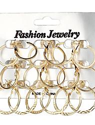 cheap -Women's Hoop Earrings Geometrical Ladies Geometric Fashion Earrings Jewelry Gold / Silver For Gift Daily 18pcs