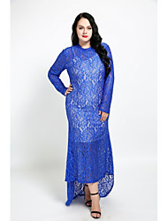 cheap -Women's Lace Maxi Plus Size Red Royal Blue Dress Fall Party Sheath Solid Colored Lace XXL XXXL / Cotton