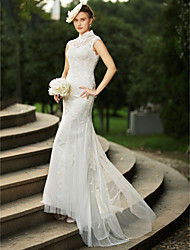 cheap -Mermaid / Trumpet High Neck Sweep / Brush Train Satin / Tulle / All Over Lace Made-To-Measure Wedding Dresses with Appliques / Buttons by LAN TING BRIDE® / See-Through / Beautiful Back