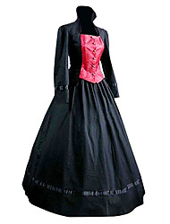 cheap -Duchess Classic Lolita Victorian Medieval Dress Women's Girls' Cotton Party Prom Japanese Cosplay Costumes Plus Size Customized Black Ball Gown Patchwork Poet Sleeve Long Sleeve Long Length