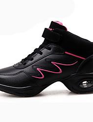 cheap -Women's Dance Shoes Calf Hair Dance Sneakers Splicing Flat Flat Heel White / Black-white / Pink
