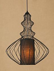 Недорогие -40 cm Антибликовая / Мини / Лампочки включены Подвесные лампы Металл Ткань Окрашенные отделки Ретро 110-120Вольт / 220-240Вольт