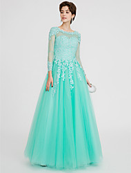 cheap -Ball Gown Jewel Neck Floor Length Lace Over Tulle Beautiful Back / See Through / Pastel Colors Prom / Formal Evening Dress with Beading 2020 / Illusion Sleeve