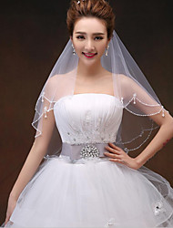 cheap -Two-tier Modern Style / Dangling / Rhinestone Wedding Veil Shoulder Veils / Fingertip Veils with Rhinestone / Beading / Scattered Crystals Style Tulle / Classic