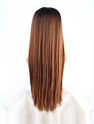 cheap -Cosplay Costume Wig Synthetic Wig Straight Wig Long Ombre Black / Medium Auburn Synthetic Hair Women's Brown / Ombre Hair