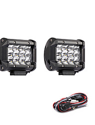 cheap -2PCS 36W 3600LM 6000K 3-Rows LED Work Light Cool White Spot Offroad Driving Light for Car/Boat/Headlight IP68 9-32V DC  2m 1-To-2 Wiring Harness Kit