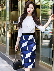 cheap -Women's Going out / Work Vintage / Street chic Pencil / Bodycon Skirts - Geometric / Color Block Navy Blue S M L