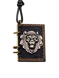 cheap -Men's Choker Necklace Locket Lion Vintage Wood Metal Alloy Black Necklace Jewelry For Gift Going out