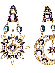 cheap -Women's Cubic Zirconia Mismatch Earrings Moon Star North Star Ladies Zircon Earrings Jewelry Gold For Party Going out