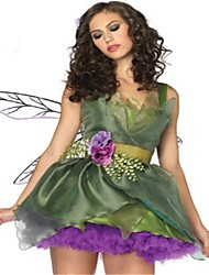cheap -Princess Queen Dress Wings Masquerade Women's Christmas Halloween Carnival Festival / Holiday Polyester Green Women's Carnival Costumes Solid Color Fashion