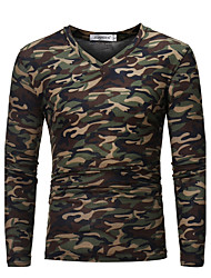 cheap -Men's Daily Weekend Military Plus Size Cotton Slim T-shirt - Camo / Camouflage V Neck Brown / Long Sleeve / Fall