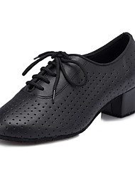 cheap -Women's Dance Shoes Latin Shoes Ballroom Shoes Salsa Shoes Line Dance Criss-Cross Chunky Heel Black Lace-up / Performance