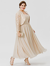cheap -Ball Gown Straps Tea Length / Ankle Length Chiffon / Beaded Lace Sleeveless Plus Size / Elegant Mother of the Bride Dress with Beading / Ruched 2020