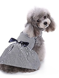 cheap -Cat Dog Coat Dress Tuxedo Dog Clothes Stripes Stripe Cotton Costume For Spring &  Fall Summer Party Casual / Daily Wedding