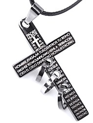 cheap -Men's Choker Necklace Pendant Necklace Cross Ladies Personalized Cross Leather Titanium Steel Black Necklace Jewelry For Casual Going out