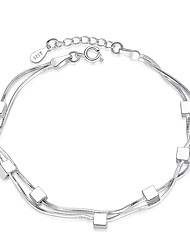 cheap -Women's Chain Bracelet Thick Chain Ladies Sterling Silver Bracelet Jewelry Silver For Party Daily