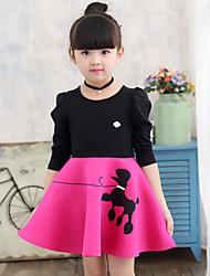 cheap -Girls' Daily Print Long Sleeve Dress Black
