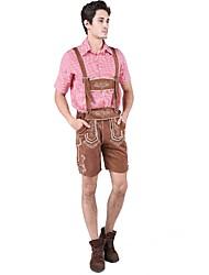cheap -Halloween Carnival Oktoberfest Beer Dirndl Trachtenkleider Men's Shirt Dress Pants Bavarian Costume Red Blue
