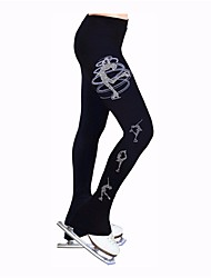 cheap -Figure Skating Pants Women's Ice Skating Tracksuit Leggings Elastane Stretchy Competition Skating Wear Heart Ice Skating Winter Sports Figure Skating