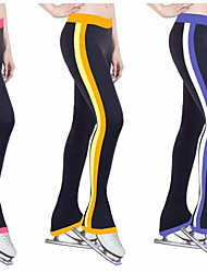 cheap -Figure Skating Pants Women's Girls' Ice Skating Pants / Trousers Tracksuit Yellow Red Blue Stretchy Training Competition Skating Wear Stripes Ice Skating Winter Sports Figure Skating