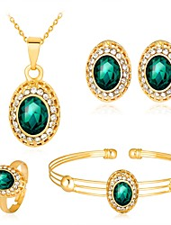cheap -Women's Cubic Zirconia Jewelry Set Oval Cut Ball Ladies Fashion Bling Bling Zircon Rose Gold Plated Earrings Jewelry White / Green / Red For Party Evening Party / Necklace