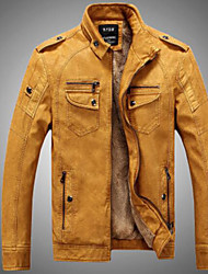 cheap -Men's Daily / Weekend Punk & Gothic Fall / Winter Regular Jacket, Solid Colored Stand Long Sleeve Modal Brown / Black / Yellow