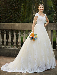 cheap -Ball Gown Wedding Dresses Square Neck Cathedral Train Lace Over Tulle Cap Sleeve Vintage Sparkle & Shine with Beading Appliques 2020