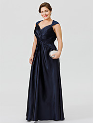cheap -A-Line / Ball Gown V Neck Floor Length Lace / Stretch Satin Sleeveless Plus Size / Beautiful Back / See Through Mother of the Bride Dress with Criss Cross / Pleats 2020
