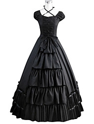 cheap -Gothic Victorian Medieval 18th Century Dress Party Costume Masquerade Women's Cotton Costume Black Vintage Cosplay Party Prom Short Sleeve Floor Length Ball Gown Plus Size Customized