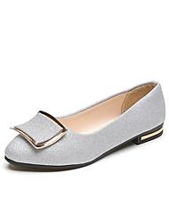 cheap -Women's Shoes PU(Polyurethane) Summer Comfort Sandals Block Heel Open Toe Buckle Gold / Silver